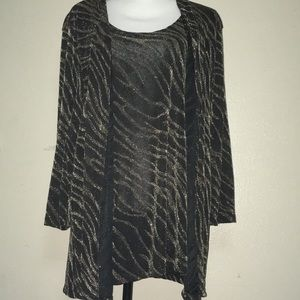 Women's XL JM Collection Black and Gold Blouse
